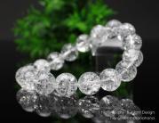 約12ミリ クラック水晶 ストレート ブレスレット【天然石】【パワーストーン】【本水晶】