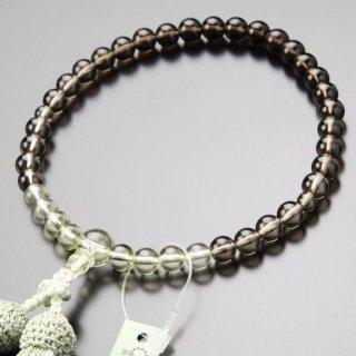 数珠 女性用 約7ミリ 茶水晶/トパーズ グラデーション 正絹2色房 102070015 送料無料