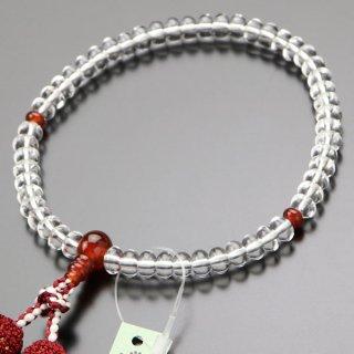 数珠 女性用 みかん玉 本水晶 瑪瑙 正絹房 102000022 送料無料