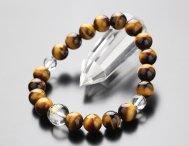梵字ブレスレット 守り本尊梵字(約12ミリ・本水晶) 約10ミリ 虎目石【腕輪念珠 数珠 干支 厄除け 107100066】