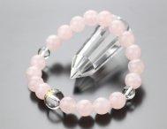 数珠ブレスレット 守り本尊梵字(約12ミリ・本水晶) 約10ミリ ローズクォーツ【腕輪念珠 干支 厄除け 107100064】