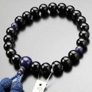 数珠 男性用 22玉 黒檀(艶有り)ソーダライト 正絹房 101220141