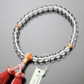 数珠 女性用 約8ミリ 本水晶 赤縞瑪瑙 銀花かがり房 102080123 送料無料