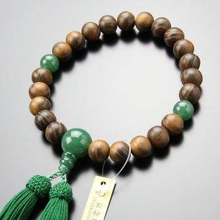 数珠 男性用 22玉 本桑 印度翡翠 正絹房 101220005 送料無料