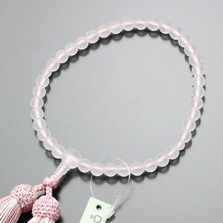 数珠 女性用 約7ミリ 淡雪(本水晶) 正絹2色房(灰桜房)102070031 送料無料