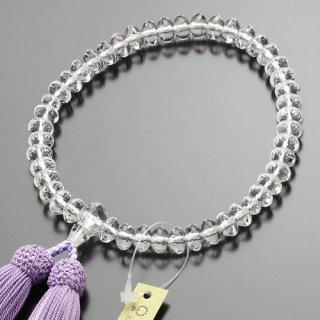 数珠 女性用 スターシェイプ 本水晶 正絹2色房(藤/白)102000012 送料無料