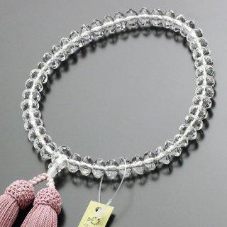 数珠 女性用 スターシェイプ 本水晶 正絹2色房(灰桜/白)102000002 送料無料