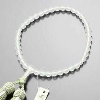 数珠 女性用 約7ミリ 淡雪(本水晶)正絹2色房(抹茶色/白ライン)102070033 送料無料