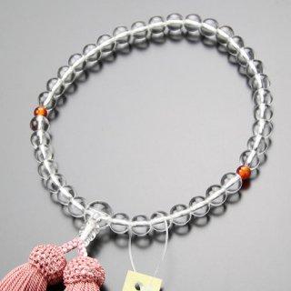 数珠 女性用 約7ミリ 本水晶 2天 瑪瑙 正絹房 102070130