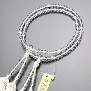 八宗派兼用 数珠 女性用 8寸 本水晶 本真珠 正絹房 102880037 送料無料