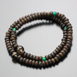 数珠ブレスレット 108玉 シャム柿 茶水晶・クリソ瑪瑙 107000148