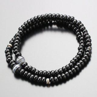 数珠ブレスレット 108玉 黒檀(艶有り)黒縞瑪瑙 107000146