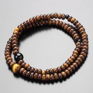 数珠ブレスレット 108玉 栴檀(艶有り)虎目石 黒オニキス 107000149