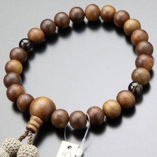 数珠 男性用 22玉 栴檀 2天 茶水晶 正絹房 101220165