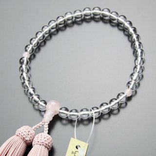 数珠 女性用 約7ミリ 本水晶 ローズクォーツ 正絹房 102070009