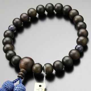 数珠 男性用 22玉 縞黒檀 2天 ソーダライト 正絹房 101220150