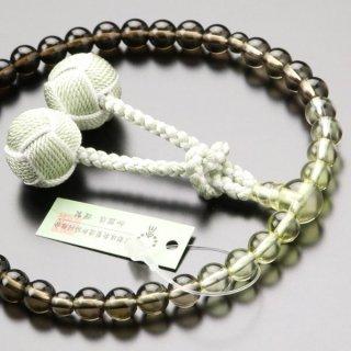 数珠 女性用 約7ミリ 茶水晶/トパーズ グラデーション 2色梵天房 102070131 送料無料