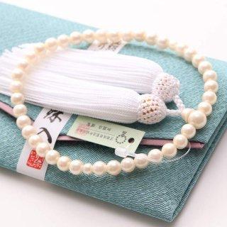 数珠 女性用 約6.5ミリ 貝パール 頭付房(白色) 数珠袋(水色)付き 102080051