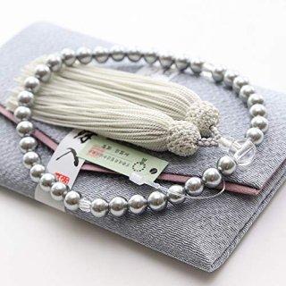 数珠 女性用 約7ミリ 黒貝パール 頭付房 数珠袋(灰色)付き 102080163