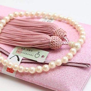 数珠 女性用 6.5ミリ 貝パール 頭付房(灰桜色) 数珠袋(桃色)付き 102070059