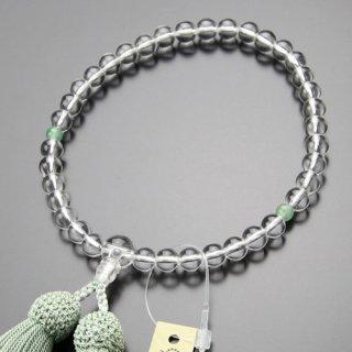 数珠 女性用 約7ミリ 本水晶 2天 印度翡翠 正絹房 102070010