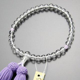 数珠 女性用 約7ミリ 本水晶 2天 藤雲石 正絹房 102070011