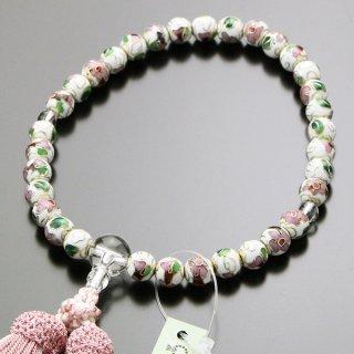 数珠 女性用 約8ミリ 七宝焼(白)本水晶 正絹2色房 102080007 送料無料