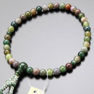数珠 女性用 約7ミリ 五色瑪瑙 正絹2色房(トクサ色)【 102070024