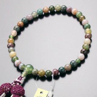 数珠 女性用 約7ミリ 五色瑪瑙 正絹2色房(ぶどう色) 102070025