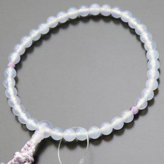 数珠 女性用 約7ミリ 白瑪瑙 2天 藤雲石 正絹2色房 102070016