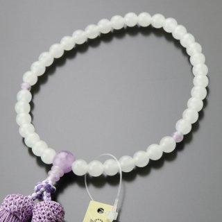 数珠 女性用 約7ミリ 白オニキス 藤雲石 正絹2色房 102070001