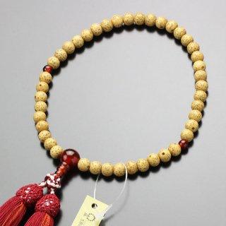 数珠 女性用 約6.5ミリ 星月菩提樹 瑪瑙 正絹松風2色房 102000008