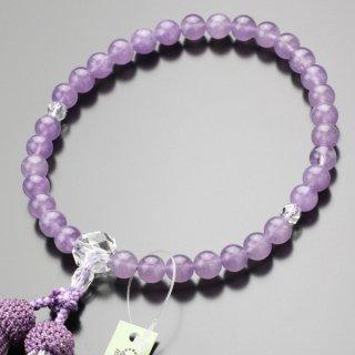 数珠 女性用 約8ミリ 藤雲石 カット水晶 正絹2色房 102080014 送料無料