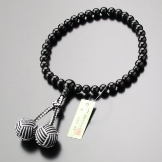 数珠 女性用 約7ミリ 黒オニキス 2色梵天房 102070141
