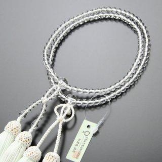 浄土真宗 数珠 女性用 8寸 本水晶 正絹房(白色)102780007 送料無料