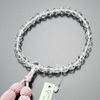 数珠 女性用 切子 本水晶 正絹房(灰桜色)102000018 送料無料