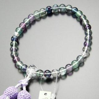 数珠 女性用 約8ミリ 蛍石 カット水晶 正絹2色房(藤色/白ライン)102070023 送料無料