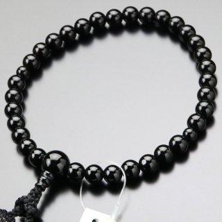 数珠 女性用 約8ミリ 黒オニキス 正絹2色房 102080015