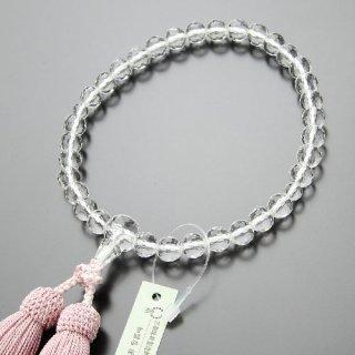 数珠 女性用 約8ミリ 128面カット 本水晶 正絹房(灰桜色)102080024 送料無料