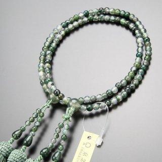 八宗派兼用 数珠 女性用 8寸 青苔瑪瑙 正絹房 102880012 送料無料
