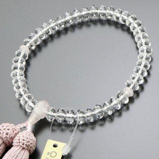 数珠 女性用 スターシェイプ 本水晶 ローズクォーツ 正絹房 102000003 送料無料