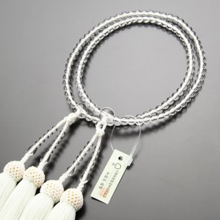 八宗派兼用 数珠 女性用 8寸 本水晶 正絹房(白房)102880110 送料無料