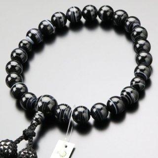 数珠 男性用 22玉 上質 黒縞瑪瑙 正絹房 101220072 送料無料