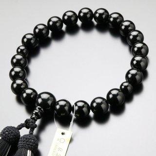 数珠 男性用 20玉 上質 黒オニキス 正絹2色房 101200002 送料無料