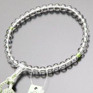 数珠 女性用 約7ミリ 本水晶 ペリドット 正絹2色房 102070145 送料無料