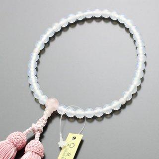 数珠 女性用 約7ミリ 白瑪瑙 ローズクォーツ 正絹2色房 102070017