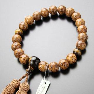数珠 男性用 20玉 印度龍眼菩提樹 虎目石 正絹房 101200011 送料無料