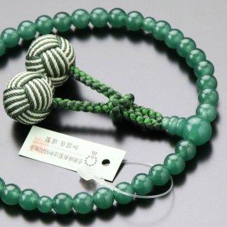 数珠 女性用 約7ミリ 印度翡翠 2色梵天房 102070146