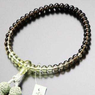 数珠 女性用 みかん玉 茶水晶/トパーズ グラデーション 正絹2色房 102000011 送料無料