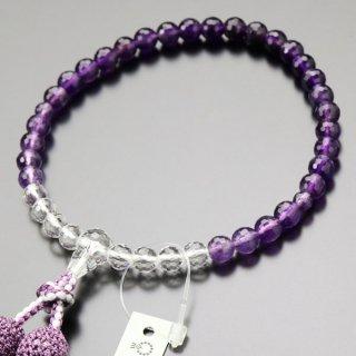 数珠 女性用 約7ミリ 128面カット 紫水晶 グラデーション 正絹2色房 102070030 送料無料